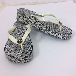 Tory Burch Classic Wedge Flip Flop Sandal Navy
